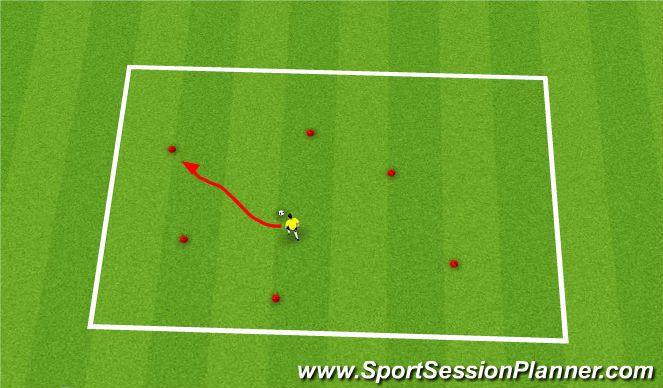 Football/Soccer Session Plan Drill (Colour): warm up- cone activity
