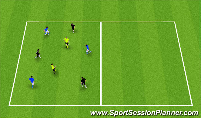 Football/Soccer Session Plan Drill (Colour): Possession 3v3+2