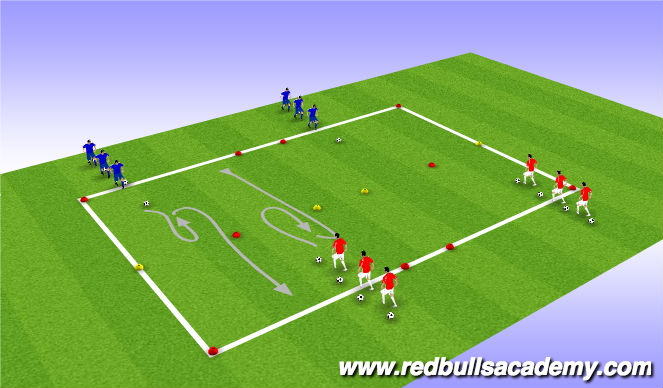 Football/Soccer Session Plan Drill (Colour): WARM UP : TURNING TECHNICAL REPETITION