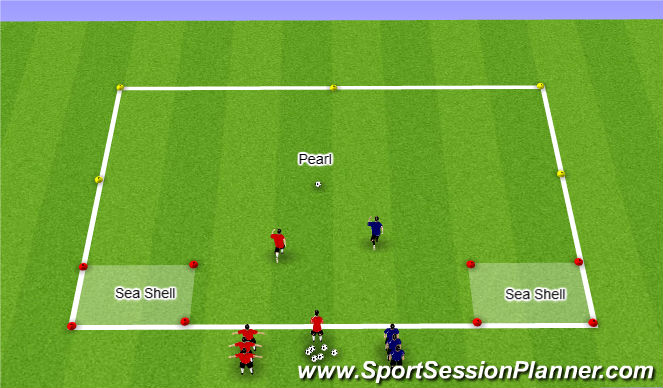 Football/Soccer Session Plan Drill (Colour): Capture the Pearl