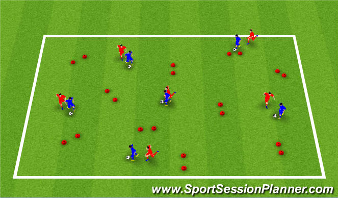 Football/Soccer Session Plan Drill (Colour): 1v1 Dribble Gate Game