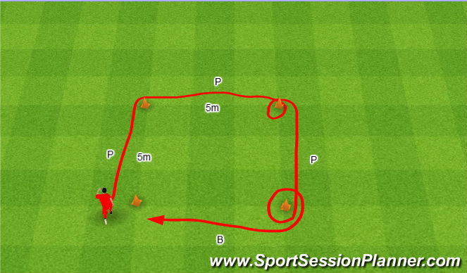 Football/Soccer Session Plan Drill (Colour): Tic-tac-toe.