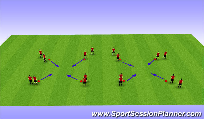 Football/Soccer Session Plan Drill (Colour): dribbling cuts