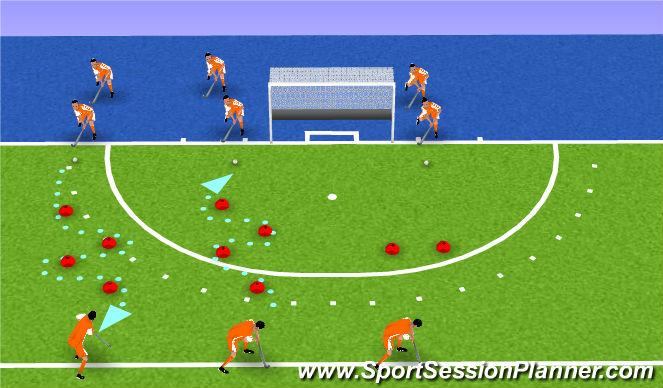 Hockey Session Plan Drill (Colour): slalom