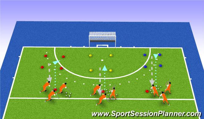 Hockey Session Plan Drill (Colour): drijven/estafette