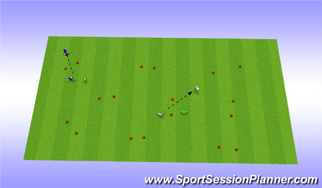Football/Soccer Session Plan Drill (Colour): 2v1 Gates