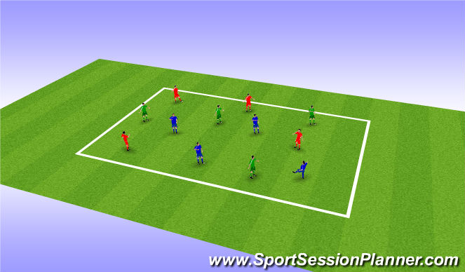 Football/Soccer Session Plan Drill (Colour): 3 Colors Possession