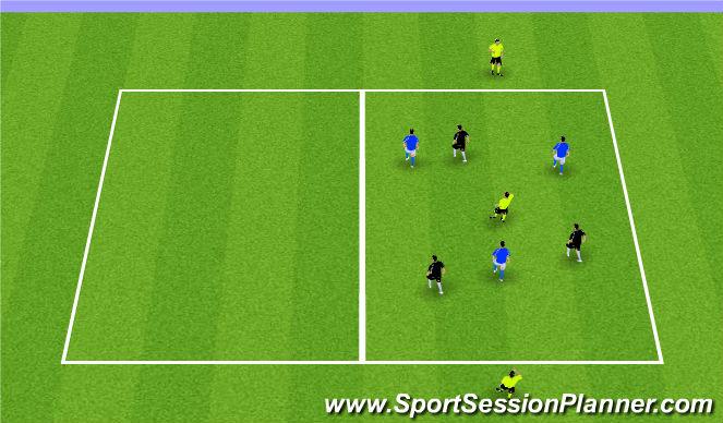 Football/Soccer Session Plan Drill (Colour): 3v3+3N