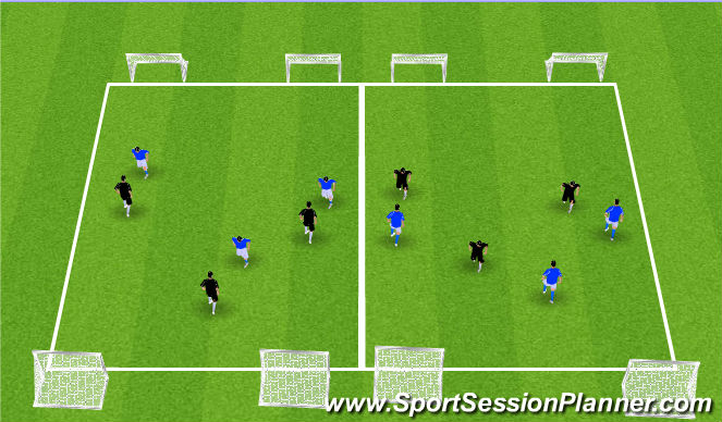 Football/Soccer Session Plan Drill (Colour): 3v3 Games. 15x20 Yards