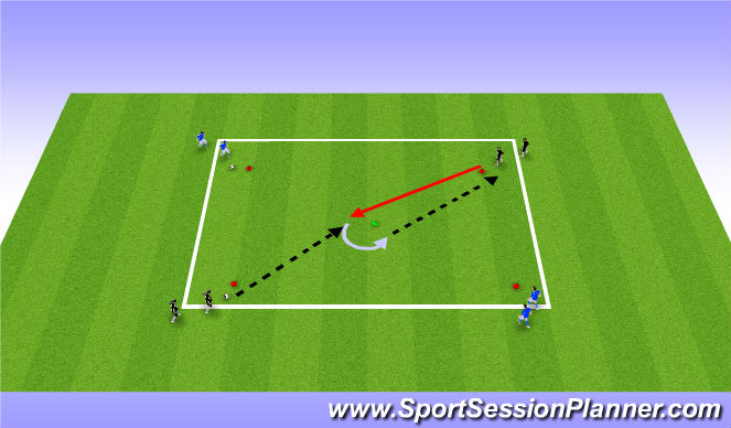 Football/Soccer Session Plan Drill (Colour): U11's: First Touch