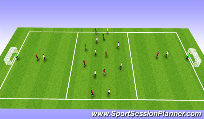 Football/Soccer Session Plan Drill (Colour): 7 v 7 Into Strikers