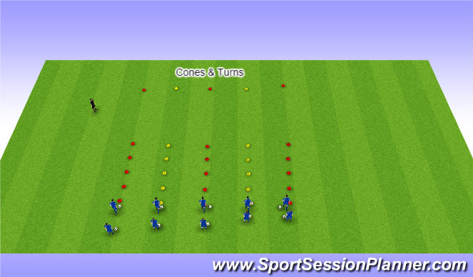 Football/Soccer Session Plan Drill (Colour): Cones & Turns