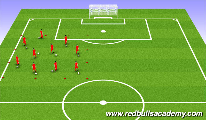Football/Soccer Session Plan Drill (Colour): Warm up- Technical