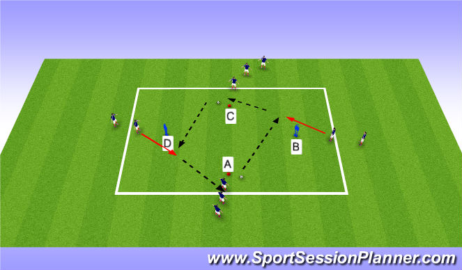 Football/Soccer Session Plan Drill (Colour): Passing - Technical practise 2