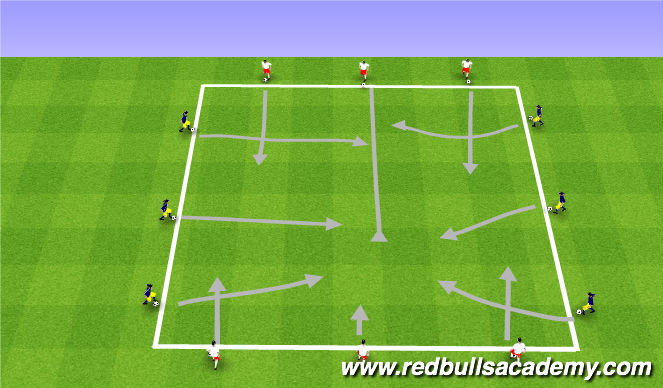 Football/Soccer Session Plan Drill (Colour): Main Theme - Dribbling / RWB - Semi-Opposed