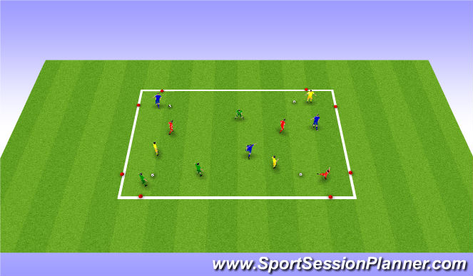 Football/Soccer Session Plan Drill (Colour): 4 Gates - passing / receiving