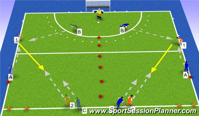 Hockey Session Plan Drill (Colour): tempo maken