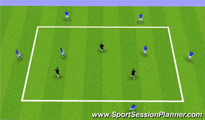 Football/Soccer Session Plan Drill (Colour): 7v3 Possession