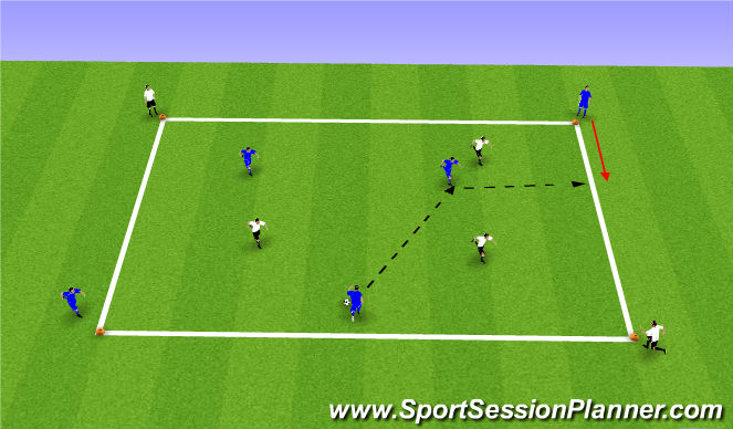 Football/Soccer Session Plan Drill (Colour): SII 5v5 Diagonals