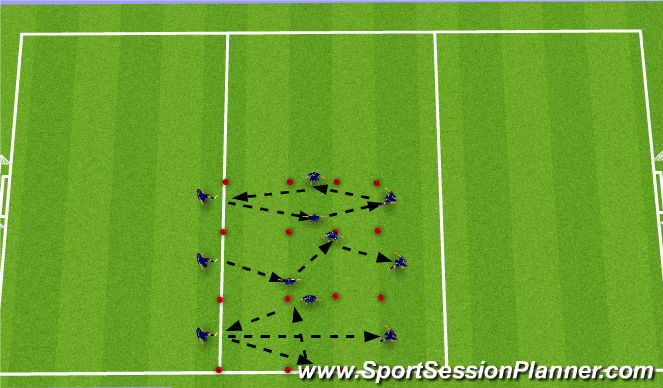 Football/Soccer Session Plan Drill (Colour): Technical Passing-Receiving Warm-up