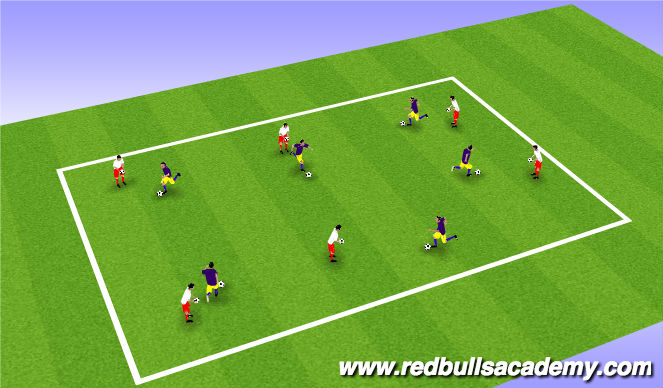 Football/Soccer Session Plan Drill (Colour): Warm Up - Shielding