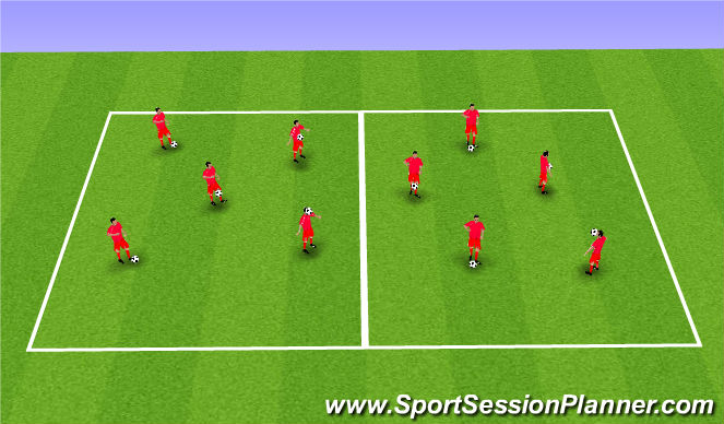 Football/Soccer Session Plan Drill (Colour): Individual Ball Control