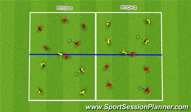 Football/Soccer Session Plan Drill (Colour): Overload possesion
