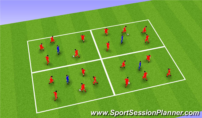 Football/Soccer Session Plan Drill (Colour): Rondos (x4)