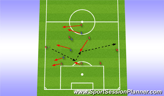 Football/Soccer Session Plan Drill (Colour): 8v4 Switching the field