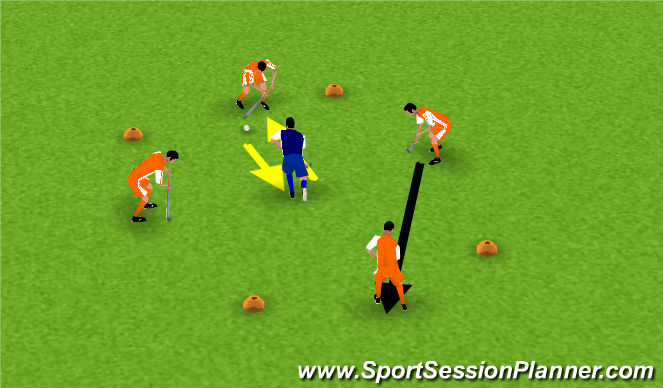Hockey Session Plan Drill (Colour): play quick