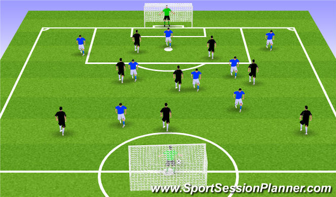 Football/Soccer Session Plan Drill (Colour): GU11: 8v8 Arsenal Way