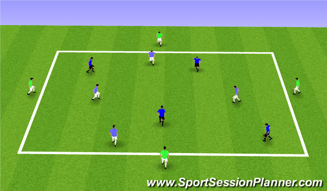Football/Soccer Session Plan Drill (Colour): 4vs4+4