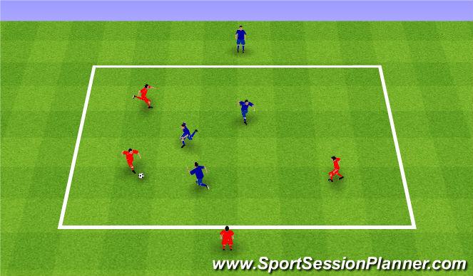 Football/Soccer Session Plan Drill (Colour): Rondo 3v3+1. Dziadek 3v3+1.