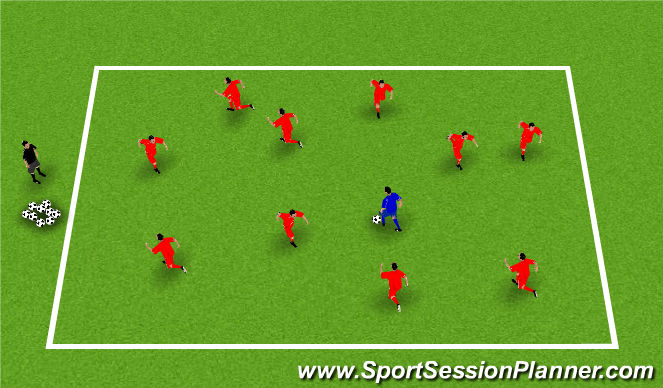 Football/Soccer Session Plan Drill (Colour): Cops & Robbers (Physical Literacy)