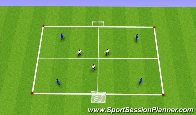 Football/Soccer Session Plan Drill (Colour): SII 4v3 Squares