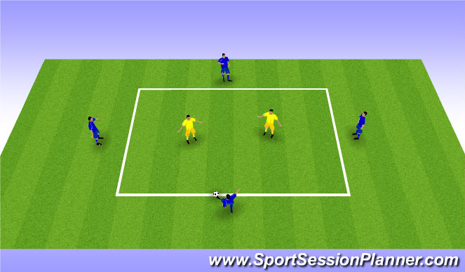 Football/Soccer Session Plan Drill (Colour): 4v2 Possession Outside