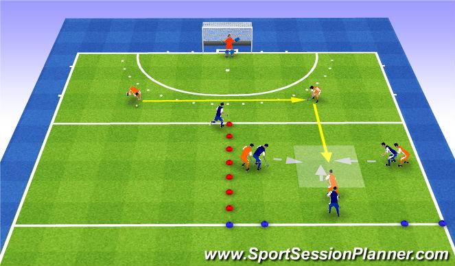 Hockey Session Plan Drill (Colour): Full press 5v4