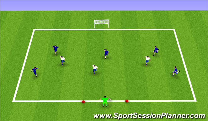 Football/Soccer Session Plan Drill (Colour): 6v3 POFTB to Goal