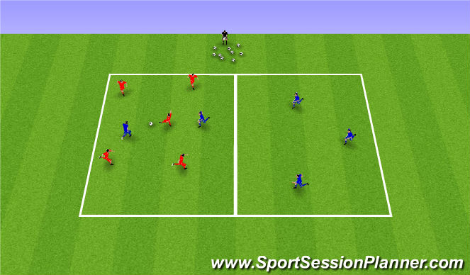 Football/Soccer Session Plan Drill (Colour): 5 v 2  Transition