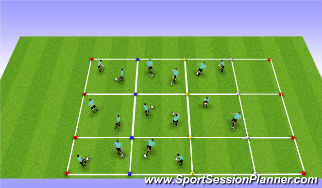 Football/Soccer Session Plan Drill (Colour): Ball Control
