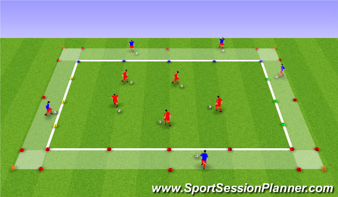 Football/Soccer Session Plan Drill (Colour): Station 1 - Dribbling Technical