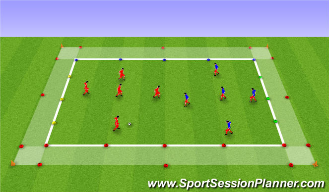 Football/Soccer Session Plan Drill (Colour): Station 3 - SSG