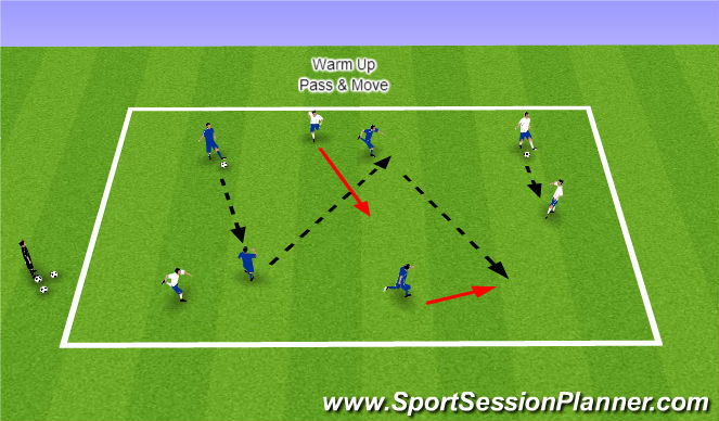 Football/Soccer Session Plan Drill (Colour): Warm Up - Pass & Move