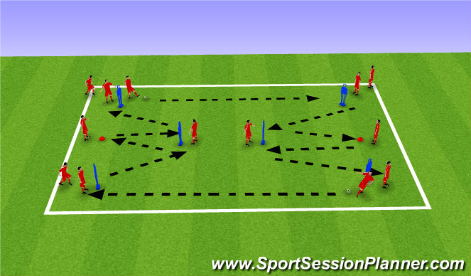 Football/Soccer Session Plan Drill (Colour): Pass & Receive
