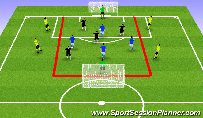 Football/Soccer Session Plan Drill (Colour): GU11-Bumper Game: 4v4