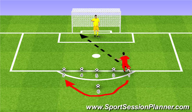 Football/Soccer Session Plan Drill (Colour): 6 Ball Challenge