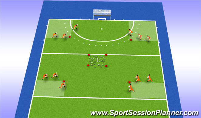 Hockey Session Plan Drill (Colour): carrying estafette