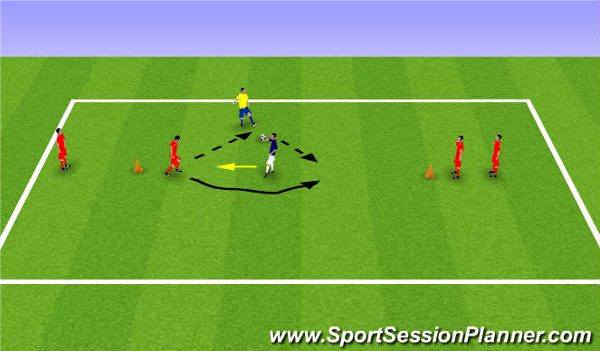 Football/Soccer Session Plan Drill (Colour): Warm up game 1