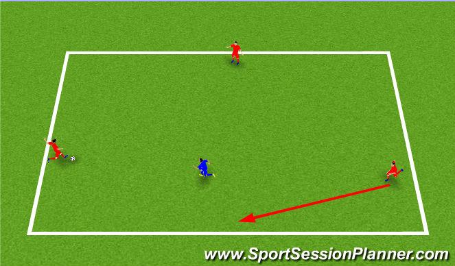 Football/Soccer Session Plan Drill (Colour): 3v1 Possession Game