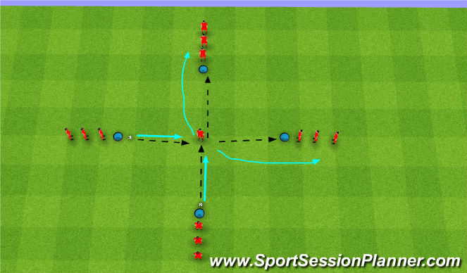 Football/Soccer Session Plan Drill (Colour): Passing and Control